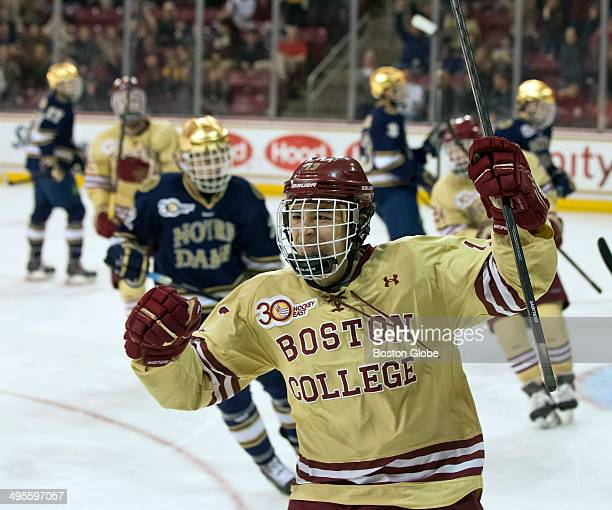Boston College Eagles Johnny Gaudreau celebrates his goal against the Norte Dame Fighting Irish during third period action of the quarter final round...