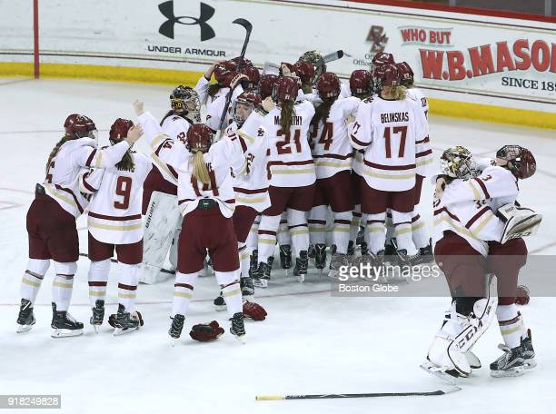 Boston College Eagles players celebrate after they defeated Boston University 43 in overtime Boston College faces Boston University in the women's...