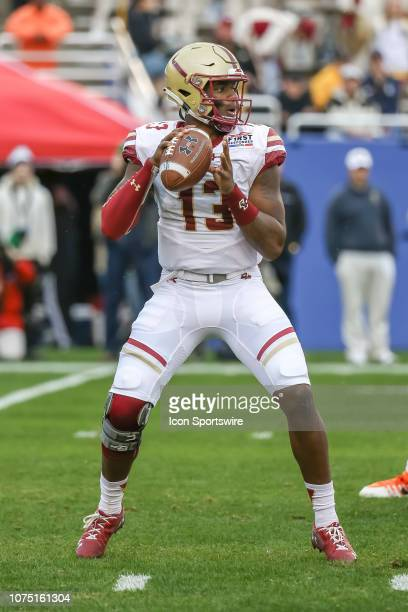 Boston College Eagles quarterback Anthony Brown looks downfield for an open receiver between the Boise State Broncos and the Boston College Eagles on...