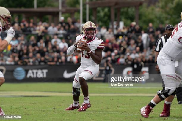 Boston College Eagles quarterback Anthony Brown looks downfield during the college football game between the Purdue Boilermakers and Boston College...
