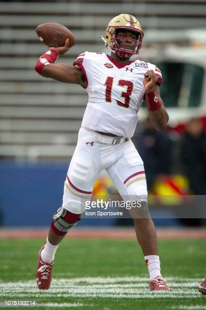 Boston College Eagles quarterback Anthony Brown looks to pass during the college First Responder Bowl against the Boise State Broncos on December 26...
