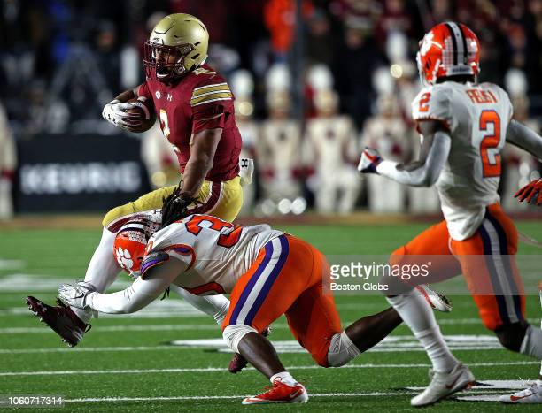 Boston College Eagles running back AJ Dillon is taken down after a short gain during the second quarter The Boston College Eagles host the Clemson...