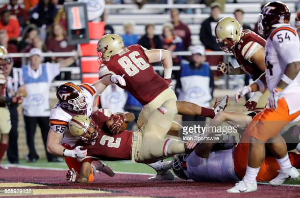 Boston College Eagles running back AJ Dillon makes it out of the end zone to avoid a safety during a game between the Boston College Eagles and the...