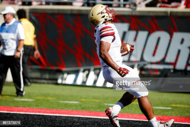 Boston College Eagles running back AJ Dillon runs in a touchdown during the game between the Louisville Cardinals and the Boston College Eagles on...