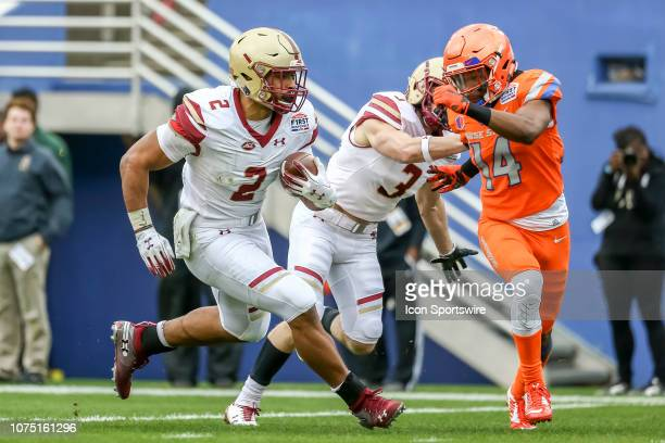 Boston College Eagles running back AJ Dillon runs through the line of scrimmage during the game between the Boise State Broncos and the Boston...