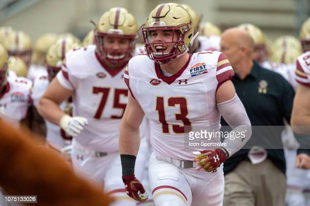 Boston College Eagles take the field prior to the college First Responder Bowl against the Boise State Broncos on December 26 2018 at Cotton Bowl...