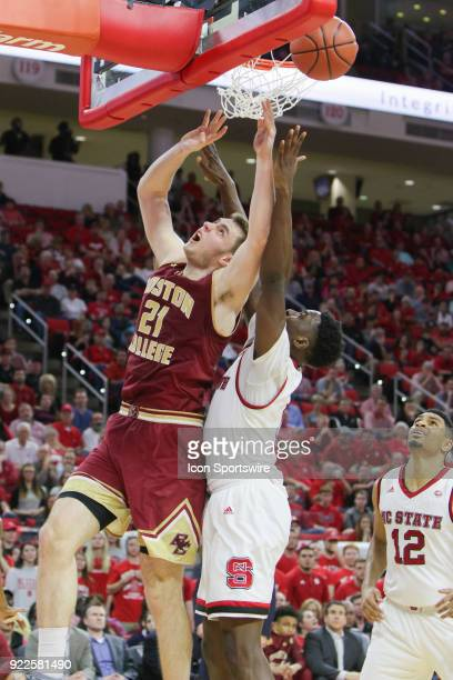 Boston College forward Nik Popovic has his shot blocked by NC State forward AbdulMalik Abu during the game between the Boston College Eagles and the...