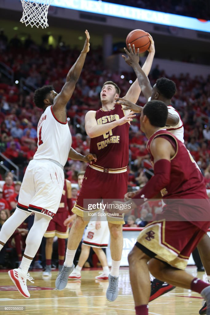 Boston College forward Nik Popovic (21) shoots the basket during the game between the Boston College Eagles and the NC State Wolfpack at PNC Arena on February 20, 2018 in Raleigh, NC. The Pack won 82-66.
