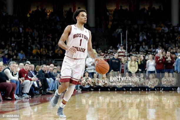Boston College guard Jerome Robinson carriers the ball on the wing during an ACC game between the Boston College Eagles and the Notre Dame Fighting...