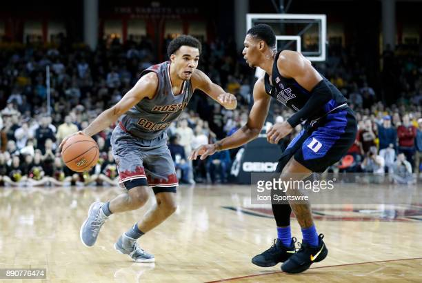 Boston College guard Jerome Robinson drives on Duke Blue Devils guard Trevon Duval during a game between the Boston College Eagles and the Duke...