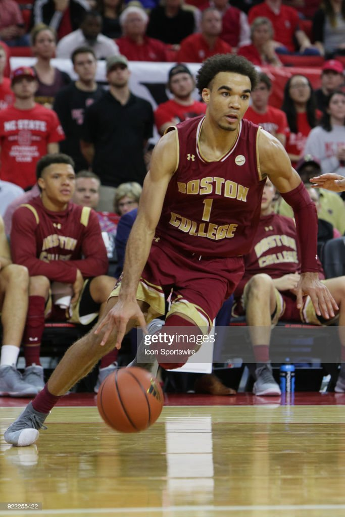 Boston College guard Jerome Robinson (1) drives the ball along the baseline during the game between the Boston College Eagles and the NC State Wolfpack at PNC Arena on February 20, 2018 in Raleigh, NC. The Pack won 82-66.
