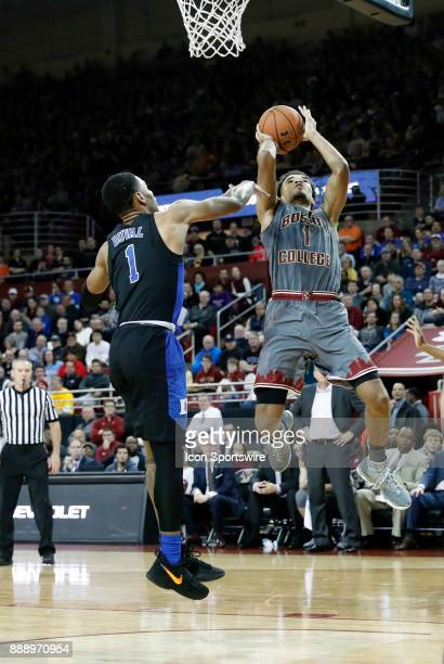Boston College guard Jerome Robinson goes up on Duke Blue Devils guard Trevon Duval during a game between the Boston College Eagles and the Duke...