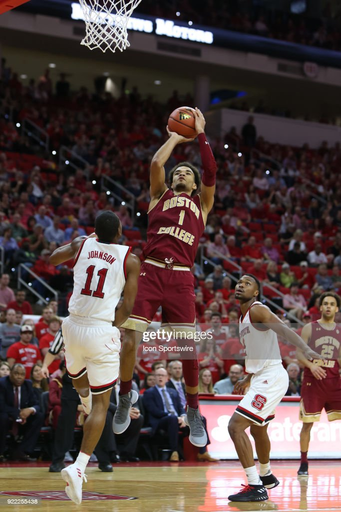 Boston College guard Jerome Robinson (1) shoots the ball during the game between the Boston College Eagles and the NC State Wolfpack at PNC Arena on February 20, 2018 in Raleigh, NC. The Pack won 82-66.
