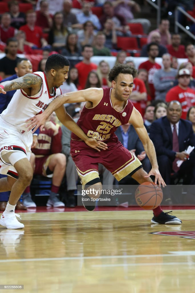 Boston College guard Jordan Chatman (25) drives past the NC State defender during the game between the Boston College Eagles and the NC State Wolfpack at PNC Arena on February 20, 2018 in Raleigh, NC. The Pack won 82-66.
