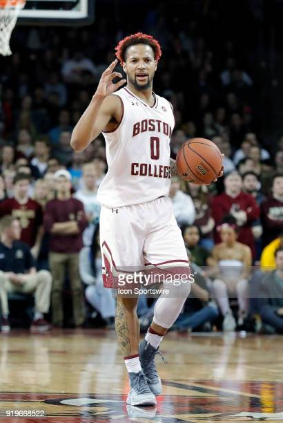 Boston College guard Ky Bowman calls the play during an ACC game between the Boston College Eagles and the Notre Dame Fighting Irish on February 17...