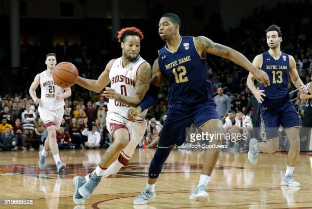 Boston College guard Ky Bowman drives on Notre Dame Fighting Irish forward Elijah Burns during an ACC game between the Boston College Eagles and the...