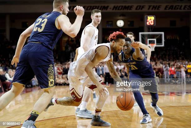 Boston College guard Ky Bowman gets past Notre Dame Fighting Irish forward Martinas Geben as Notre Dame Fighting Irish guard Temple 'TJ' Gibbs Jr...