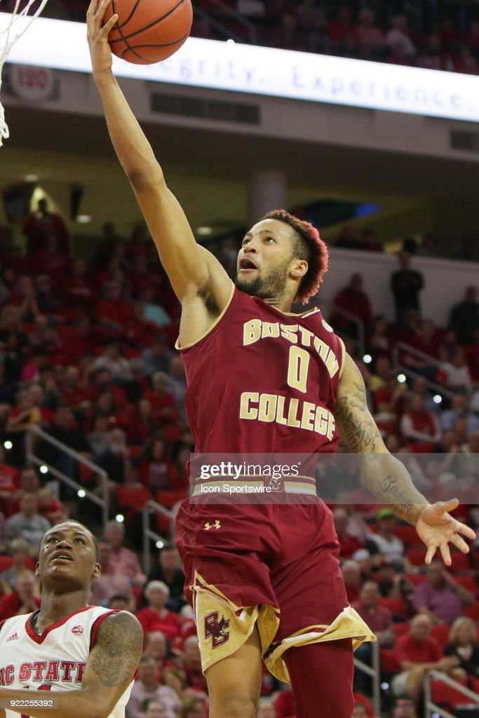 Boston College guard Ky Bowman (0) makes the layup during the game between the Boston College Eagles and the NC State Wolfpack at PNC Arena on February 20, 2018 in Raleigh, NC. The Pack won 82-66.