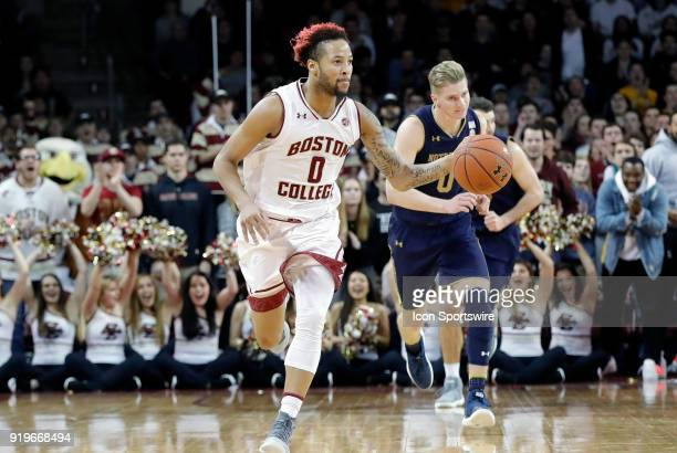 Boston College guard Ky Bowman pushes the ball up the floor during an ACC game between the Boston College Eagles and the Notre Dame Fighting Irish on...