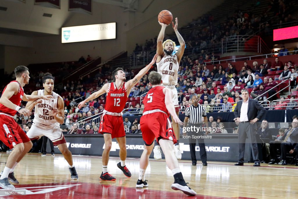 sports shoes 40760 72129 Boston College guard Ky Bowman shoots over Hartford Hawks ...
