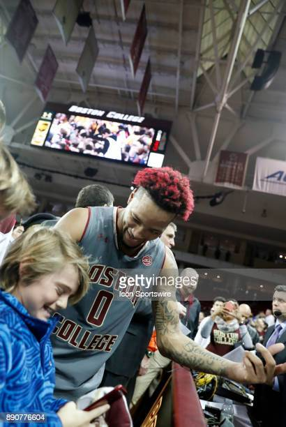 Boston College guard Ky Bowman with young fan after a game between the Boston College Eagles and the Duke University Blue Devils on December 9 at...