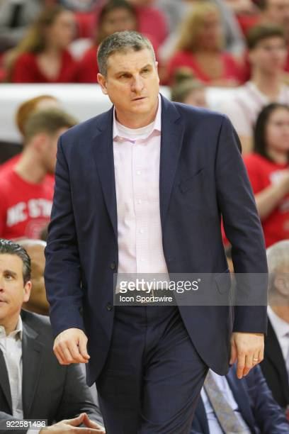 Boston College head coach Jim Christian looks on during the game between the Boston College Eagles and the NC State Wolfpack at PNC Arena on February...