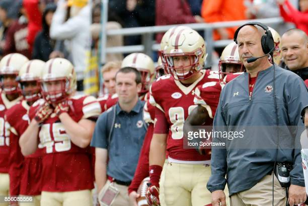 Boston College head coach Steve Addazio watches from the sideline during a game between the Boston College Eagles and the Central Michigan Chippewas...