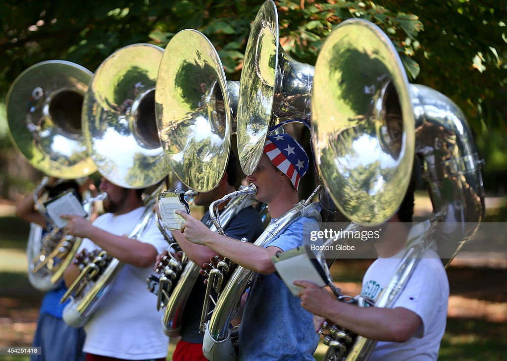Boston College Marching Band Low Brass Section member Nathan Bryant, middle, at practice with some of the band's other tuba players.