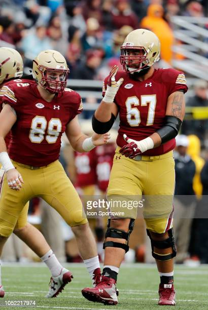 Boston College offensive lineman Aaron Monteiro during a game between the Boston College Eagles and the Louisville Cardinals on October 13 at Alumni...