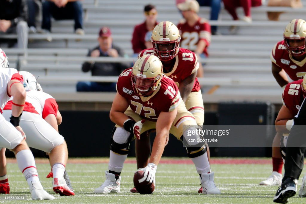 Boston College offensive lineman Alec Lindstrom waits to snap the... News  Photo - Getty Images