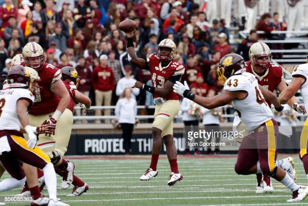 Boston College quarterback Anthony Brown tosses a pass during a game between the Boston College Eagles and the Central Michigan Chippewas on...