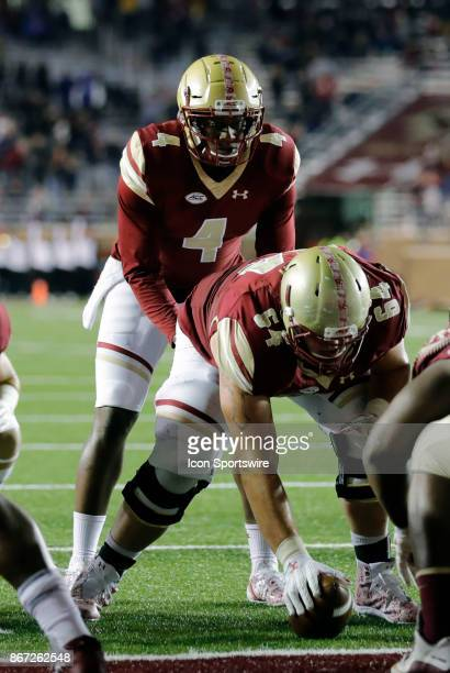 Boston College quarterback Darius Wade call signals after replacing an injured Boston College quarterback Anthony Brown during a game between the...