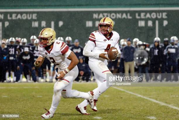 Boston College quarterback Darius Wade drops back to pass during a game between the UCONN Huskies and the Boston College Eagles on November 18 at...