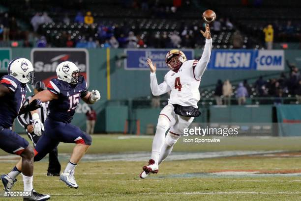 Boston College quarterback Darius Wade fires a touchdown pass during a game between the UCONN Huskies and the Boston College Eagles on November 18 at...