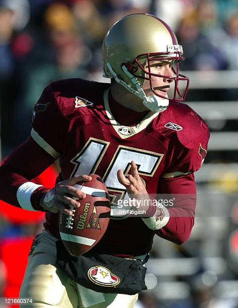 Boston College quarterback Quinton Porter looks for an open receiver during a game between the Boston College Eagles and the West Virginia...