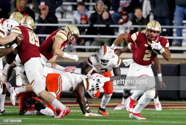 Boston College running back AJ Dillon breaks around end during a game between the Boston College Eagles and the Miami Hurricanes on October 26 at...
