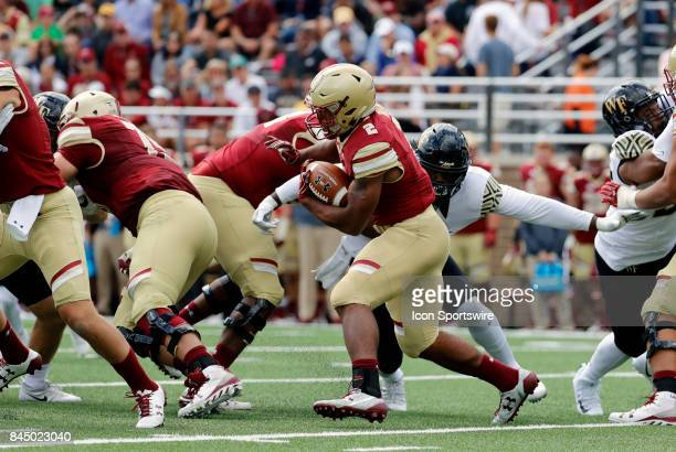 Boston College running back AJ Dillon carries the ball during an ACC matchup between the Boston College Eagles and the Wake Forest Demon Deacons on...