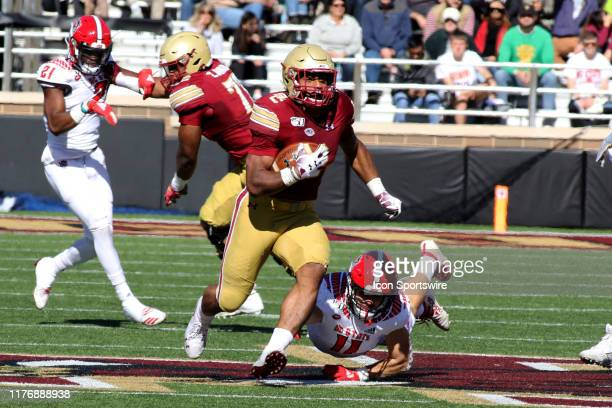 Boston College Running Back AJ Dillon heads up field during the college football game between the North Carolina State Wolfpack and Boston College...
