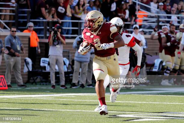 Boston College running back AJ Dillon scampers for the end zone during a game between the Boston College Eagles and the Richmond Spiders on September...