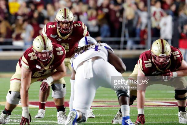 Boston College running back AJ Dillon waits for the snap in the backfield during a game between the Boston College Eagles and the Kansas University...