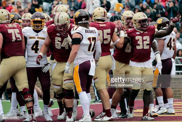 Boston College running back Jon Hilliman celebrates after a touchdown during a game between the Boston College Eagles and the Central Michigan...