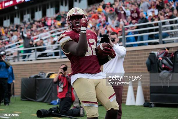 Boston College running back Jon Hilliman celebrates his touchdown during a game between the Boston College Eagles and the Central Michigan Chippewas...