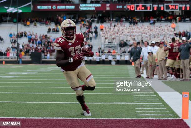 Boston College running back Jon Hilliman crosses the goal line for an easy six points during a game between the Boston College Eagles and the Central...
