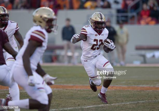Boston College running back Travis Levy rushes upfield during a game between the Boston College Eagles and the Virginia Tech Hokies on November 03 at...