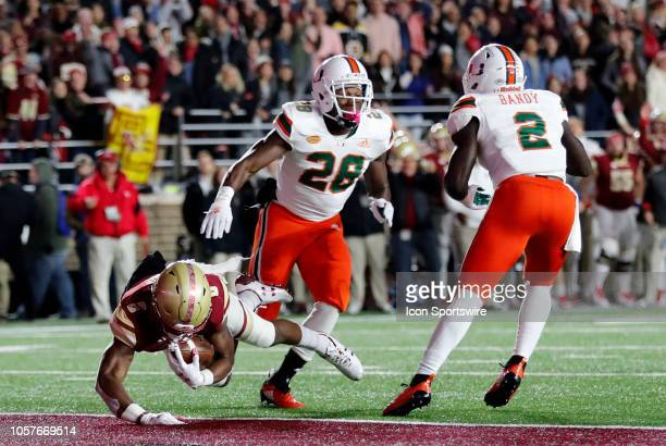 Boston College wide receiver Jeff Smith dives into the end zone during a game between the Boston College Eagles and the Miami Hurricanes on October...