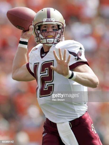 Boston College's Matt Ryan drops back to pass during the first half versus Clemson at Memorial Stadium in Clemson, South Carolina, Sept. 24, 2005....