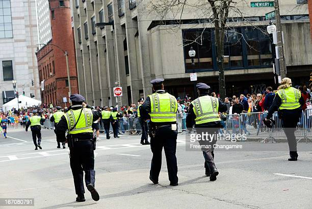Boston cops controlling the crowds after the bombings....