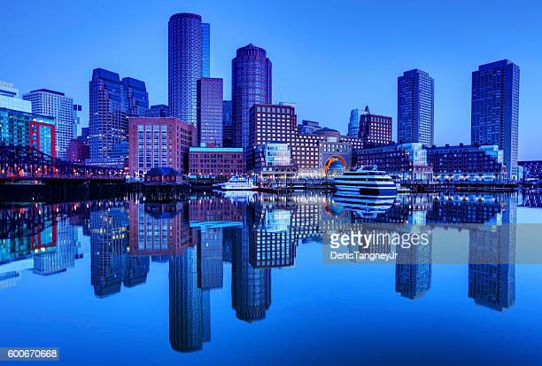 Boston downtown skyline refection on the harbor waterfront