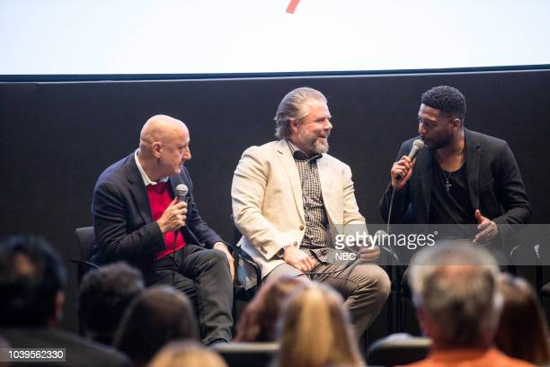 EVENTS Boston Film Festival Screening of New Amsterdam Pictured Dr Eric Manheimer Tyler Labine Anupam Kher Moderator Jackie Bruno from NBC Boston...