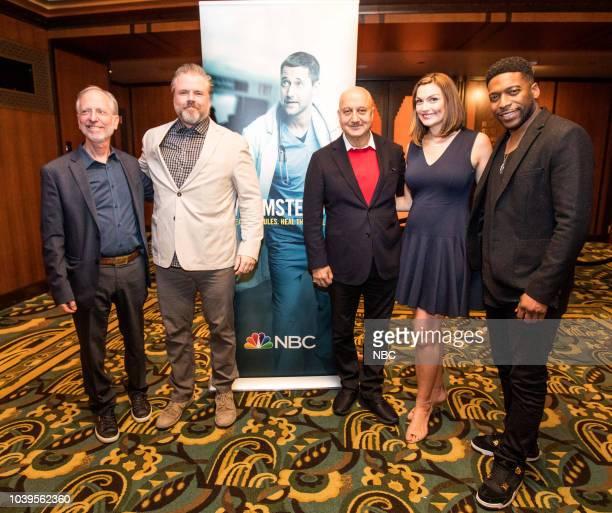 EVENTS Boston Film Festival Screening of New Amsterdam Pictured Dr Eric Manheimer Tyler Labine Anupam Kher Moderator Jackie Bruno from NBC Boston...